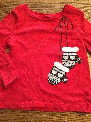 Baby Gap Toddler Girls Size 2T Red Mittens Long Sleeve Tee Shirt