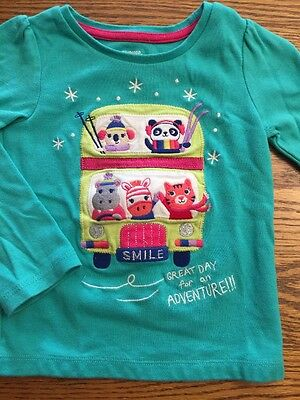 Gymboree Toddler Girls Size 2T Color Happy Ski Bus Long Sleeve Shirt