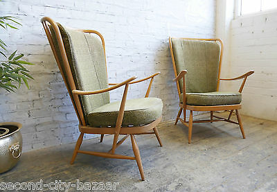 2 Vintage Retro 60s Mid Century Danish Era Ercol Windsor Lounge Chairs Armchairs