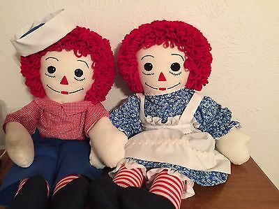 "24"" Raggedy Ann & Andy Dolls Handmade With Expert Detail And Craftsmanship"