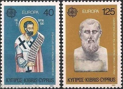 Cyprus 1980 SG 540-541 Sc 533-534 MNH Europa Philosopher Saint combined postage