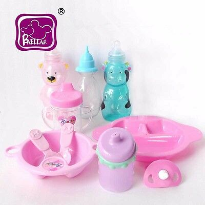 Reborn Baby Dolls Accessories Plastic Pacifier Feeding Bottles Toys 10pcs Set