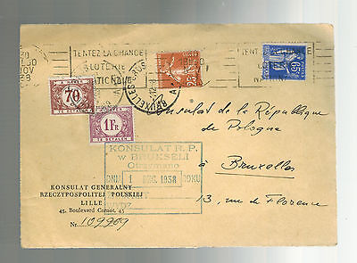 1938 France Poland Consul Postage due Cover Front to Belgium Polish Embassy