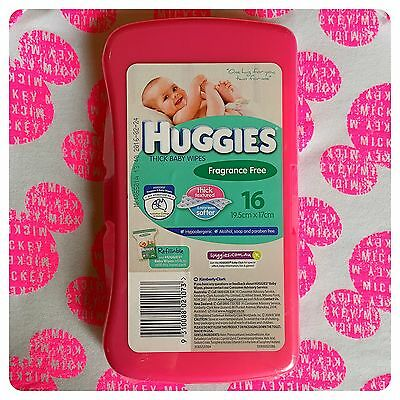 1 x Pink Huggies baby wipes hard travel case. For nappy bag - LAST ONE!!