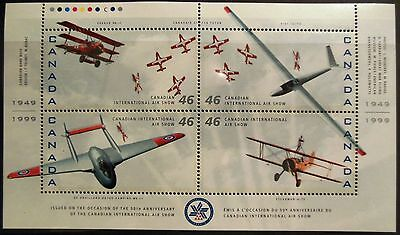 "Canada Stamps, Sg 1807 Mint,1999, ""int. Air Show"" Planes, Mnh, Miniature Sheet"