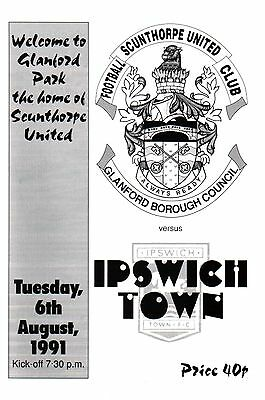 1991/92 Scunthorpe United v Ipswich Town, Friendly, PERFECT CONDITION