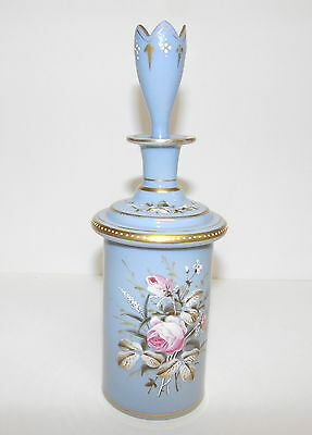 """Vintage Blue Bristol 9 1/4"""" Perfume Bottle W/stopper And Hand-Painted Flowers"""
