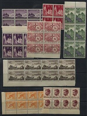 Australia Early QEII MNH Blocks of 4+ Collection 3 Scans CV $67