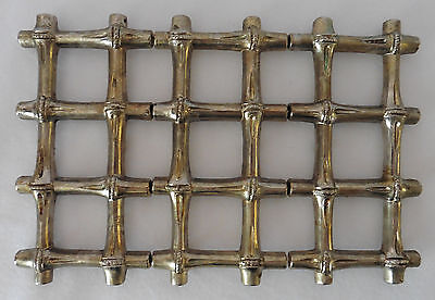 Vintage Trivet Expandable Silver Plate F.B. Rogers ITALY Bamboo Motif