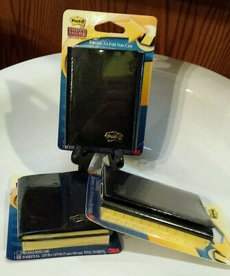 """Lot of THREE (3) 3M Mini 3""""x4"""" Post-It Portable Note Holder Case with Refills"""