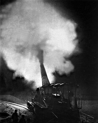 New 8x10 World War I Photo: 320mm French Gun Fires During a Night Bombardment