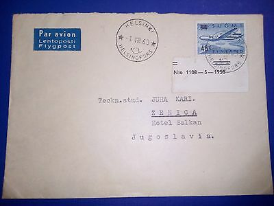 Finland Helsinki 1.8.1960 Stamped Cover Air Mail To Jugoslavia