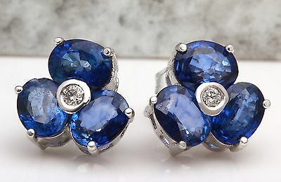 4.10Ct Natural Blue Sapphire and Diamond 14K Solid White Gold Earrings