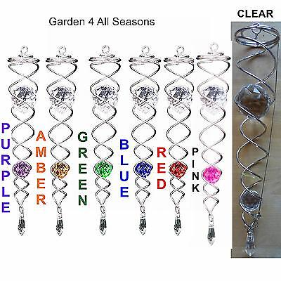 "SILVER 12""/30cm CRYSTAL TWISTERS Wind Spinner Sun Catcher Iron Stop Hook Garden"