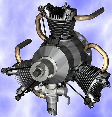 DRAWINGS PLANS for RADIAL Model Airplane Engine 4-stroke Glow Ignition