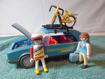 Playmobil Blue Car and People with Bike