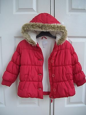 Girls Red Next Padded Zipped Fur Trim Hood Coat Jacket 4-5Y Excellent Condition