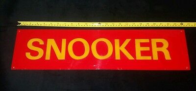 Vintage 1970's SNOOKER Room Perspex Sign.   Red & Yellow.