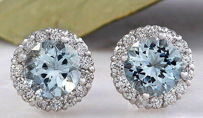 3.05ct Natural Aquamarine and Diamond 14K Solid White Gold Earrings
