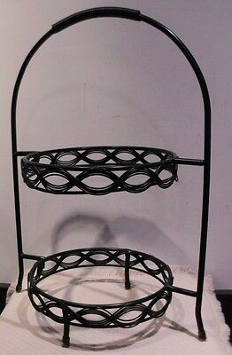 Wrought Iron 2 Pie Rack Server   Eight inch   Dark Green