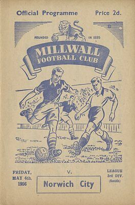 Rare 1950s Millwall Programme : v Norwich City May 4th 1956