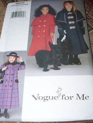 VOGUE FOR ME #9575 - GIRLS LOOSE FITTING COAT & CAPELET PATTERN  2-4 or 5-6X  FF