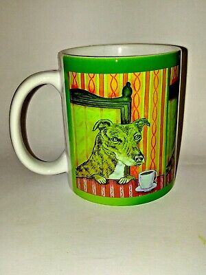 greyhound at the cafe coffee shop picture animal dog art coffee Mug 11 oz gift