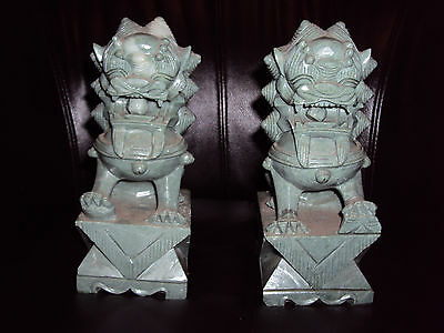 "Vintage Chinese Foo Dogs Green Stone Rare 8"" Tall Heavy Book Ends Statues"