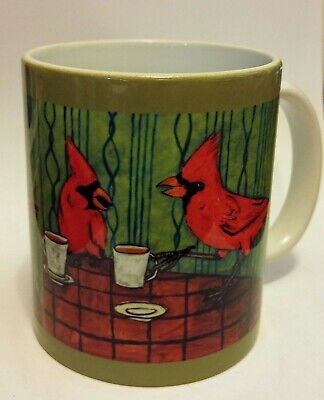 cardinal at the cafe coffee shop picture animal bird art coffee Mug 11 oz gift