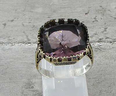 925 STERLING SILVER VINTAGE ANTIQUE FINISH AMETHYST COCKTAIL RING 6g - Sz 7