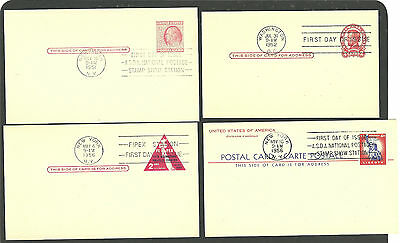 Lot of four U.S. Postal Card First Day Covers