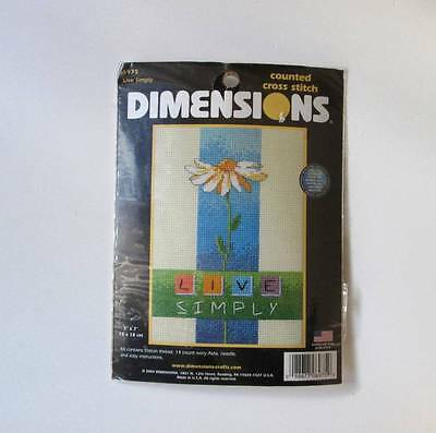 """Dimensions Live Simply Counted Cross Stitch Kit #6975 5"""" x 7"""" Daisy Positive New"""