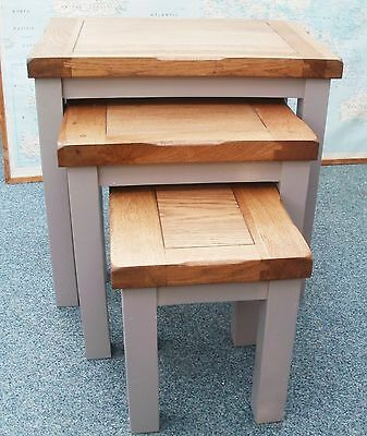 Grey Color Painted Solid Oak Nest of 3 Tables Coffee/Nesting/Lamp Three Tables