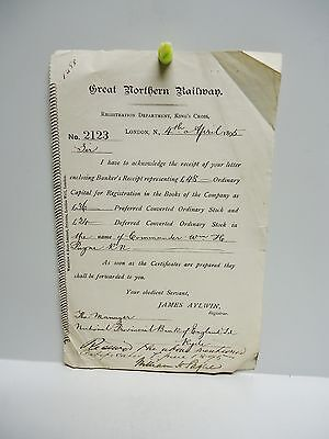 Vintage - Great Northern Railway - Stock Certificates Letter - 1895