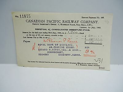 Vintage - CANADIAN PACIFIC RAILWAY COMPANY  - Stock Payment Certificate - 1943