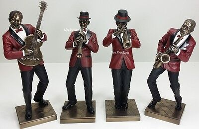 4 PC SET - JAZZ BAND COLLECTION SAXOPHONE GUITAR TRUMPET CLARINET PLAYER Statue
