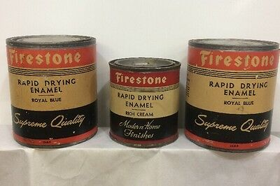 Vintage Firestone Paint Cans Rich Cream And Royal Blue Lot Of 3 Cans