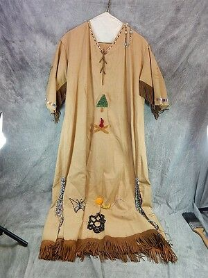ANTIQUE CAMPFIRE GIRLS Native American Indian Dress Beaded Embroidery