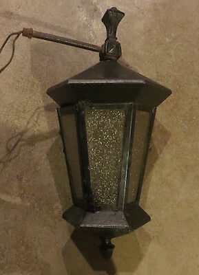 "Antique 1910-1915 wall mount lantern. 17"" tall. Faint gold band along top edge."