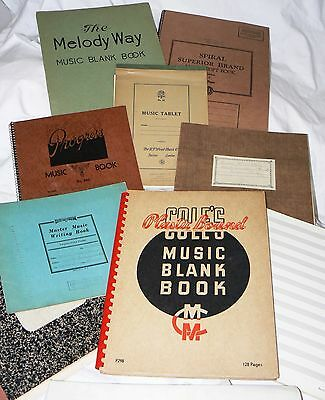 Lot of 8 + Vintage Blank Music Staff Books, Staff Paper, various sizes