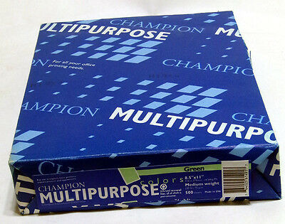 CHAMPION Multipurpose Copy Paper 20 Pound 8-1/2 x 11 - GREEN - 1 Ream of 500