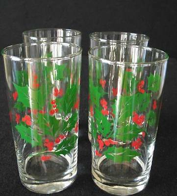 4 Vintage Indiana Glass Green Holly Red Berry Christmas 12oz Glasses Tumblers