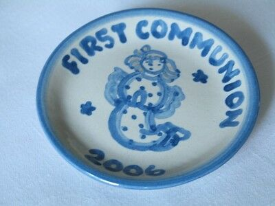 M A Hadley Pottery First Communion Coaster 2006 Angel Louisville