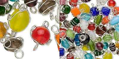 50 Silver Plated Spiral Wire Wrapped Mixed Glass Beads 7-8MM