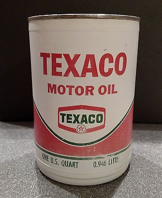 Texaco Motor Oil Plastic Vinyl Oil Can Metal Lid Rare 1968 SAE10W HD 7