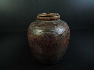 E3492: Japanese Wooden Paulownia TEA CADDY Chaire Containe
