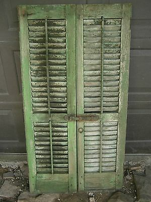 Antique Wooden Louvered Shutters working louvers original hardware