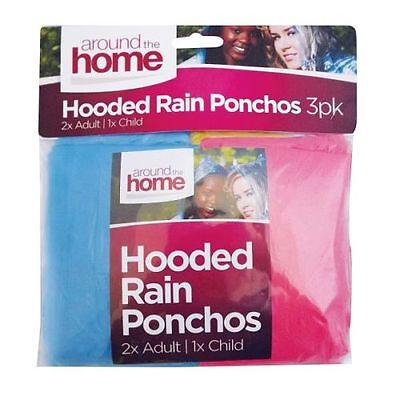 HOODED RAIN FAMILY PACK Of 3 2x Adult 1x Child PONCHOS
