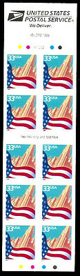3278j 33¢ City Flag (10) die cut 11 1/4 MNH