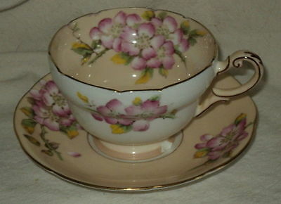 Royal Paragon Peach/White Flowered Cup & Saucer